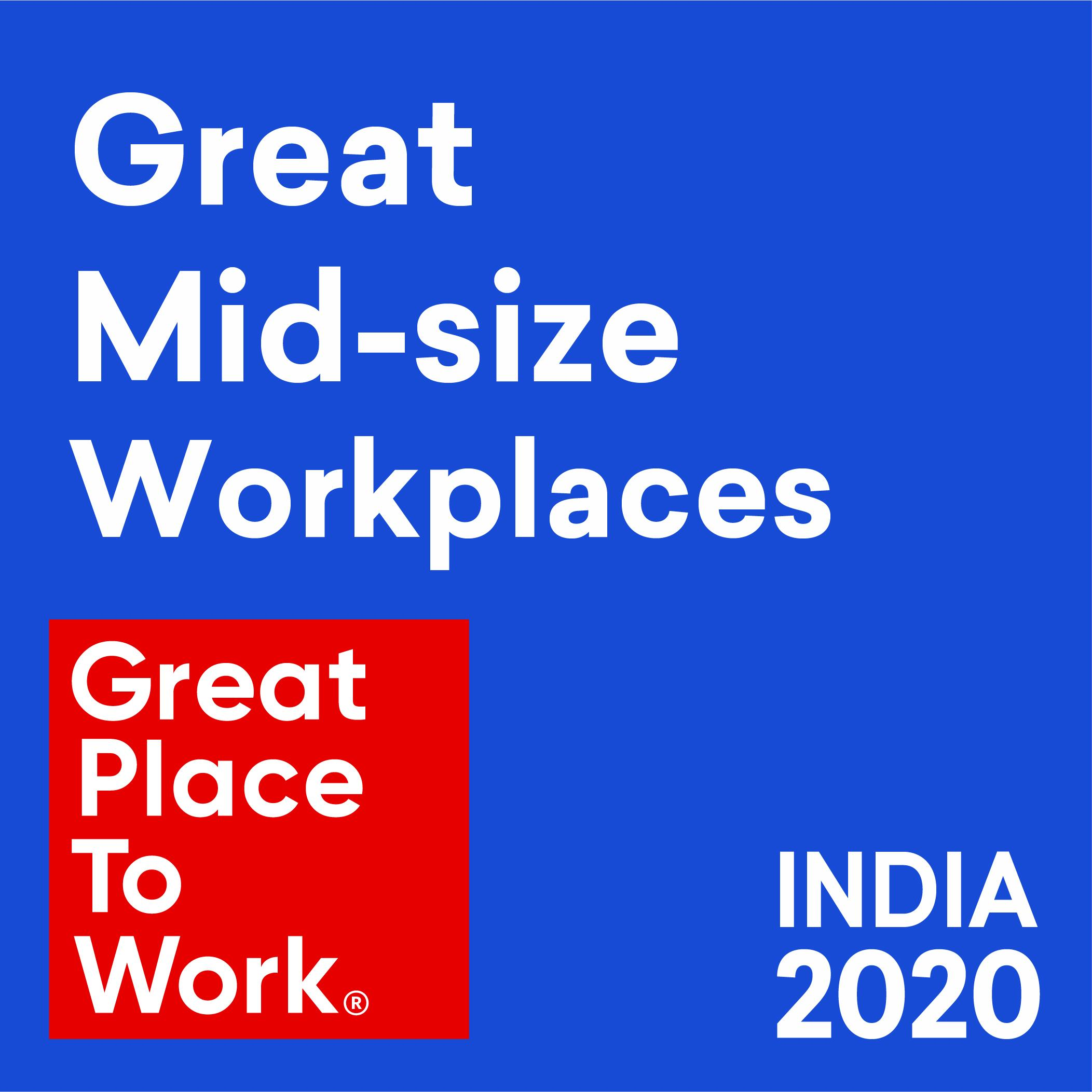 Great Mid-size Workplaces | Great Place to Work India 2020